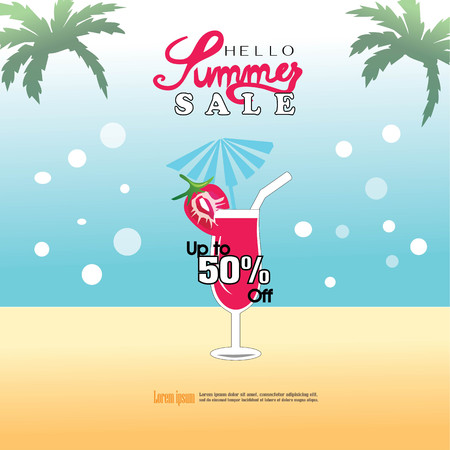 beach party: Summer template.summer poster with drink glass. vector illustration. Illustration