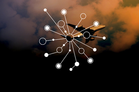 blur image of plane in sky with   wireless communication connection network.communication concept.