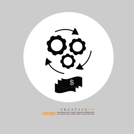 the concept of financial operations vector. business concept vector.gear and dollar. Vector illustration. Illustration