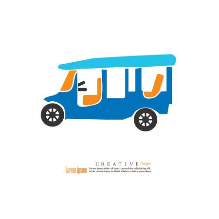 TUK-TUK is the name of Thailand.tuktuk thailand.vector illustration.