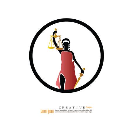 Lady of Justice.vector illustration. Stock Illustratie