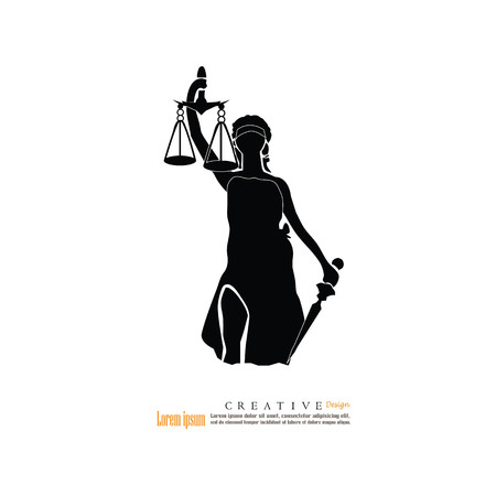 justice scale: Lady of Justice.vector illustration. Illustration
