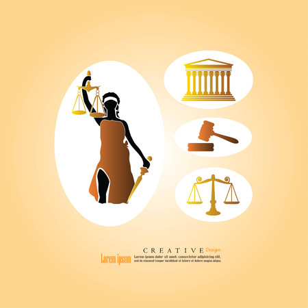 supreme court: Justice court building image with scales of justice , gavel and lady of justice.vector illustration.