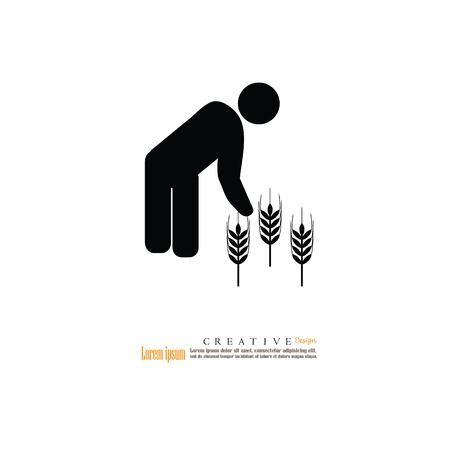 farmer plant rice in the field.vector illustration. Illustration