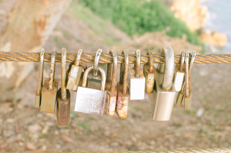 CHANTABURI, THAILAND- MAY 19, 2017: Love Locks on the bridge railing,CHANTABURI,THAILAND