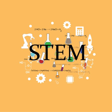 STEM education. Science, Technology, Engineering and Math education.vector illustration.