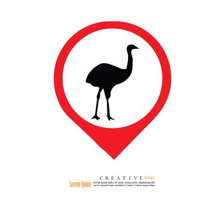 flightless: emu icon.vector illustration.