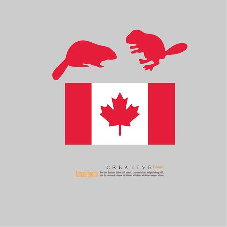 outline map of Canada  with nation flag and beaver.vector illustration.