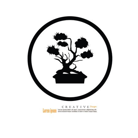 Bonsai. Bonsai met ingemaakt pictogram Vector illustratie.