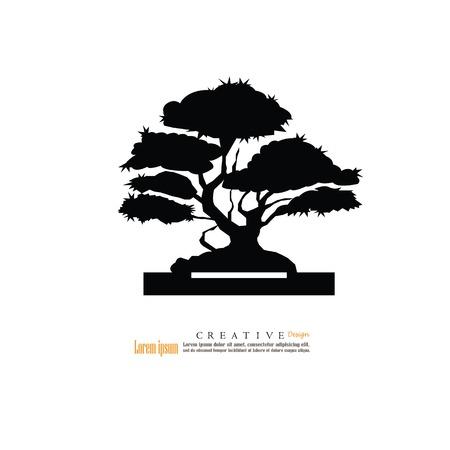 Bonsai.bonsai with potted icon.vector illustration. Illustration