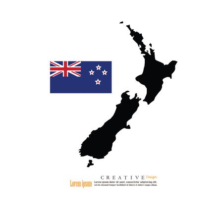 outline map of  New Zeland with nation flag.vector illustration. Çizim