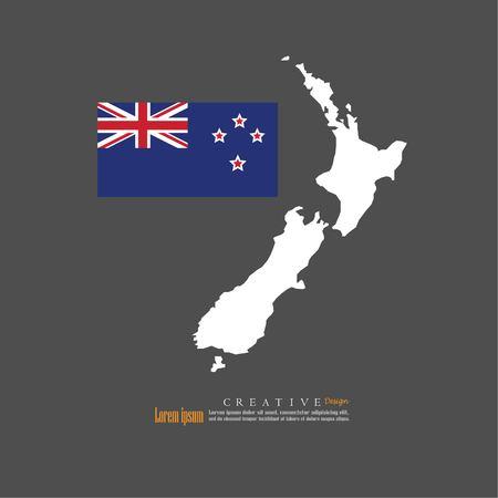 Mappa panoramica della Nuova Zelanda con la nazione flag.vector illustrazione. Archivio Fotografico - 83782606