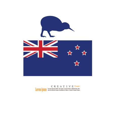 New Zealand  national flag with kiwi background  .vector illustration. Çizim