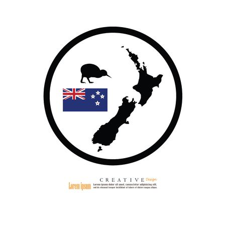 outline map of New Zeland with nation flag and kiwi.vector illustration. Illustration