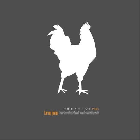 French hen on dark background, vector illustration