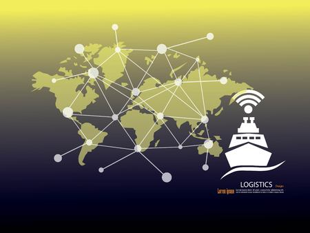 Business Logistics concept, Global business connection technology interface global partner.