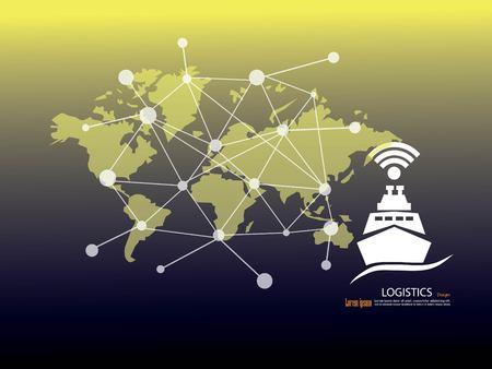 Business Logistics concept, Global business connection technology interface global partner. Illustration