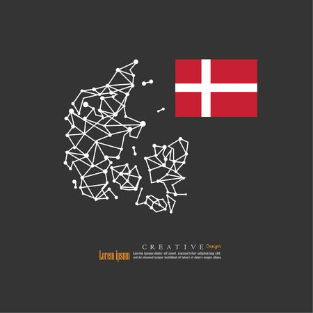 outline map of  Denmark  with nation flag.vector illustration. Illustration