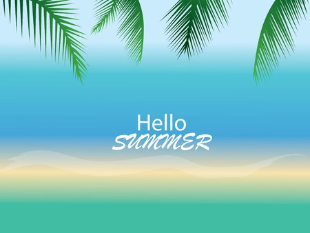 Summer time at the beach with coconut leaf background.vector illustration.