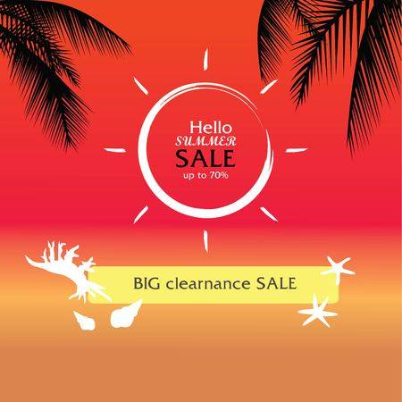 sale banner or poster of Summer sale.summer background with  beach and coconut leaf .vector illustration.