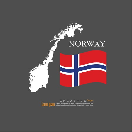 outline map of  Norway  with nation flag.vector illustration. Illustration