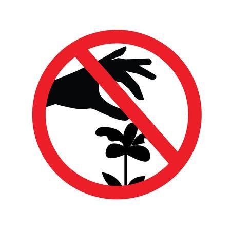 花の標識のベクトルをピックしないでください。この辺で花を摘むなという赤いしるし。サインを禁止する。ベクターイラスト。  イラスト・ベクター素材