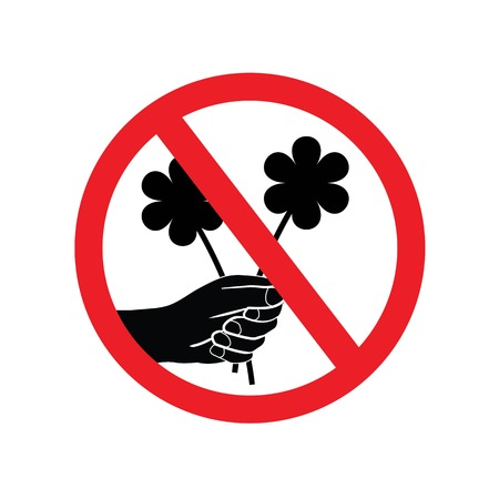 Dont Pick the Flower Sign vector. A red sign that tell you not to pick the flower in this area.prohibit sign.vector illustration.