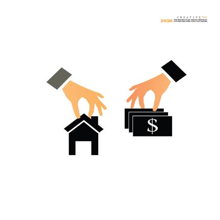 Hand holding  house and money.Exchange conceptual property for sale, real estate conceptual vector illustration. Illustration