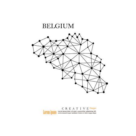 Outline map of Belgium illustration.