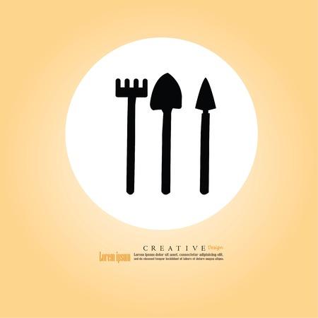 garden Shovel and fork icon. vector Illustration. Illustration