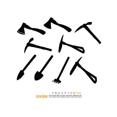 set of hoe ,garden shovel and fork  icon.vector illustration. Ilustração