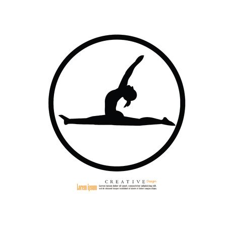 slim girl practicing yoga and stretching.vector illustration.