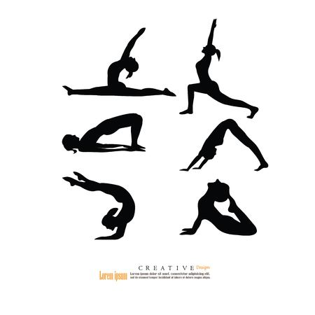 body consciousness: slim girl practicing yoga and stretching.vector illustration.