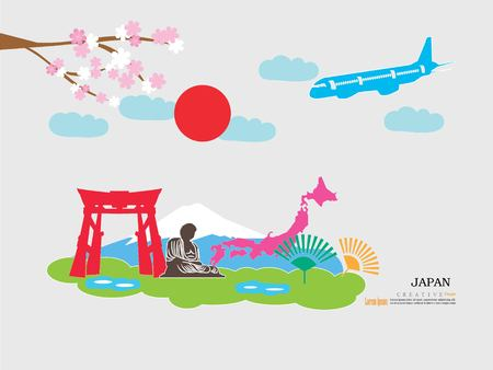 tv tower: Travel to Japan concept with Japan landmarks on vector illustration.