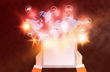 mixed media: Social connection and logistics.mixed media.