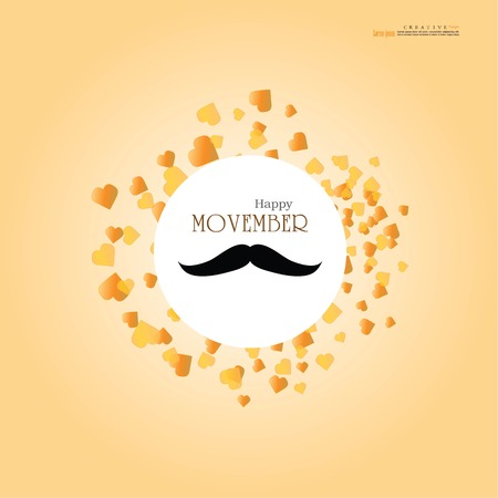 LOPBURI, THAILAND- OCTOBER 29, 2017: Movember cancer awareness.Movember  concept with mustache. Use it for banner, flyer or card.  Vector  llustration. Illustration