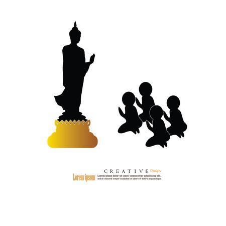 novice: Man worship the Buddha icon.vector illustration.