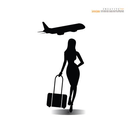 woman with suitcase and plane icon.stewardesses  icon.travel concept.vector illustration.
