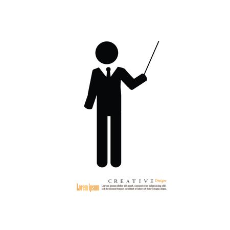 Business man icon on white background, vector illustration.