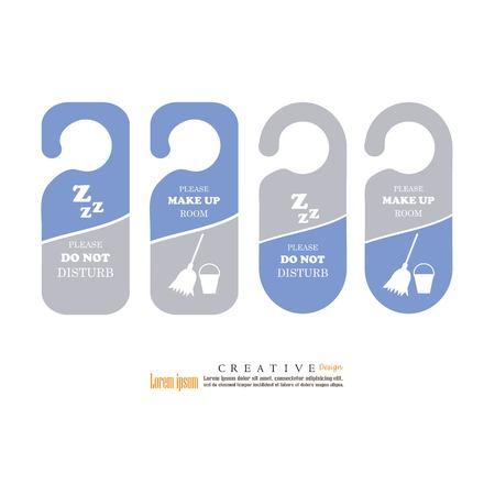 Door hanger tags for room in hotel or resort, vector illustration.