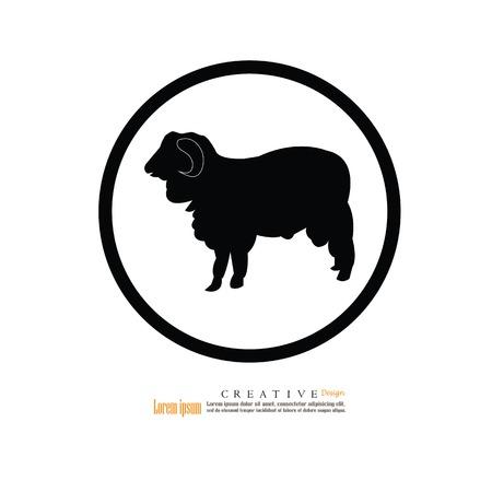 pasen schaap: Sheep silhouette icon. Stock Illustratie