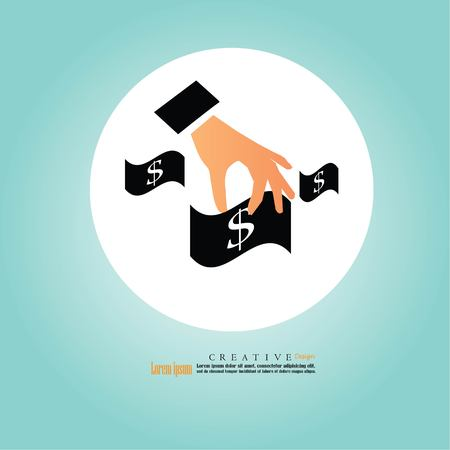 remuneración: Hand holding dollar, business concept vector illustration.