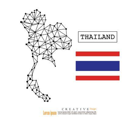 Mapa del esquema de Tailandia con la ilustración flag.vector de la nación. Foto de archivo - 89883746