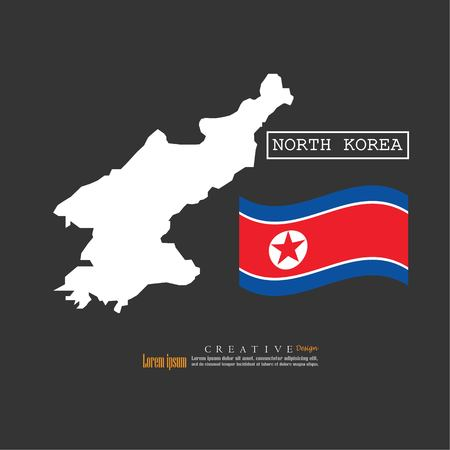 outline map of North Korea  with nation flag.vector illustration.  イラスト・ベクター素材