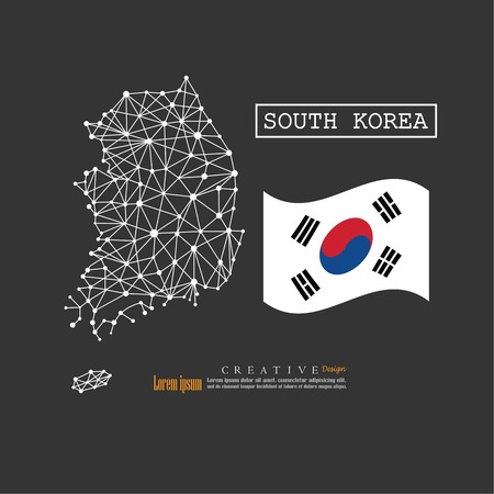 Outline map of South Korea with nation flag. vector illustration. Ilustrace