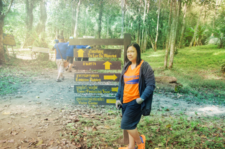 TRAT, THAILAND - NOVEMBER 25 2017 ; The traveller visit Tee lor su waterfall.famous travel place at Tak, Thailand