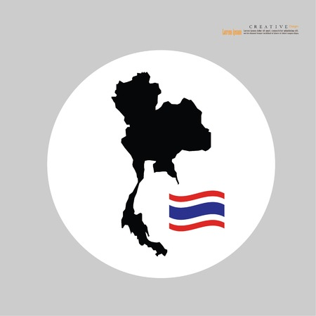 Outline map of Thailand flag.
