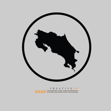 outline map of Costa Rica. vector illustration.