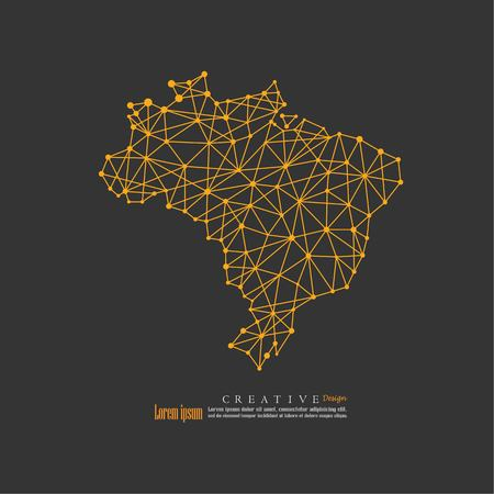 outline map of Brazil. vector illustration.