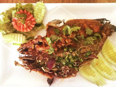 stir-fried fish and basil.Thai food.